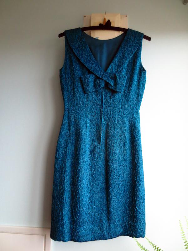 Vintage klänning brokad petrol