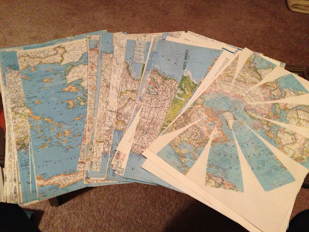 Decoupage Maps On Walls - Year of Clean Water