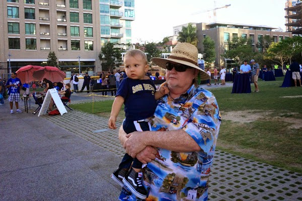 Reef and his Opa enjoyed all the happenings at Petco Park. - Oma Loves U!