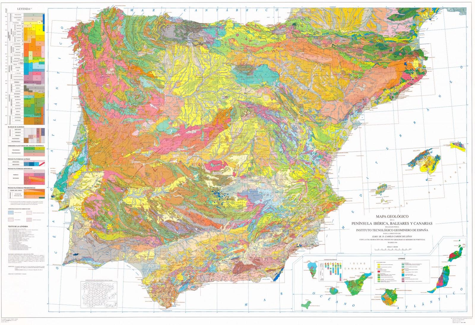 Landkartenblog geologische landkarte von spanien ud portugal - Mapamundi pizarra ...