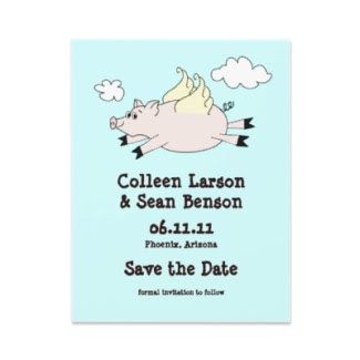 Flying Pig Save the Date Cards