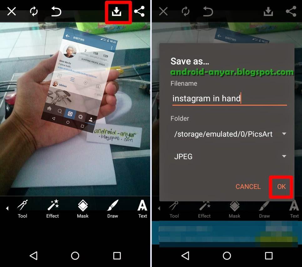 Menyimpan foto instagram in hand Android ke Galeri
