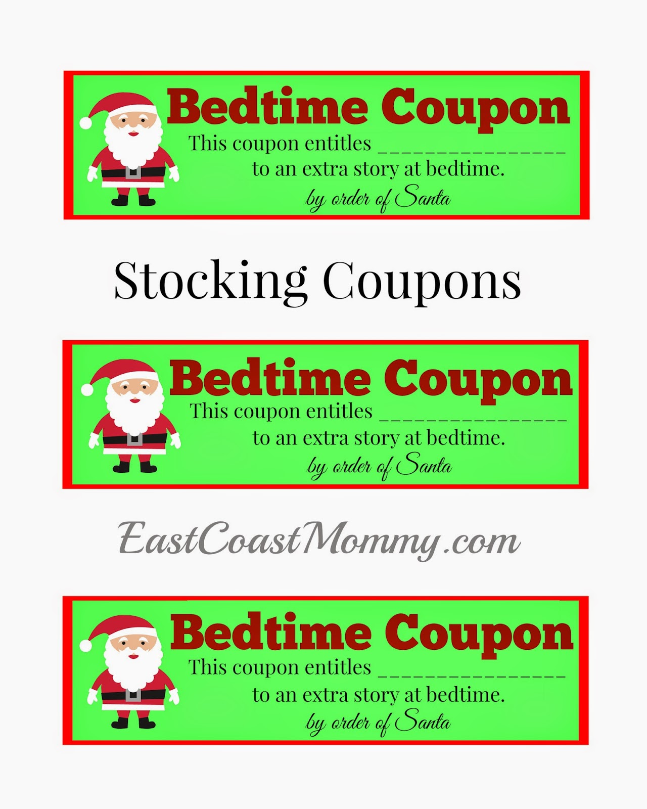 East Coast Mommy Stocking Stuffer Idea Free Printable