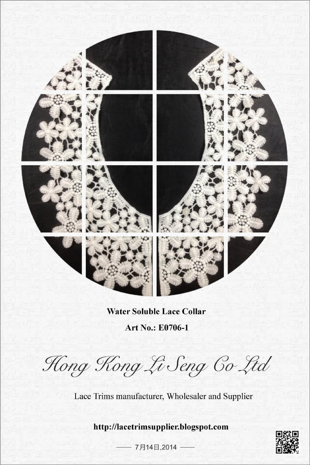"New Embroidered Cotton Lace Collar Manufacturer Wholesaler and Supplier "" Hong Kong Li Seng Co Ltd"