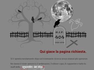 """""""La página buscada yace aquÍ"""". Página italiana de error 404."""