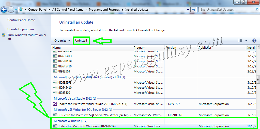 Search Uninstall KB2990214