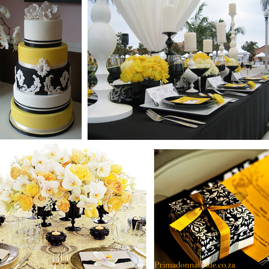 decoracao amarelo branco e preto:Black White and Yellow Wedding Colors
