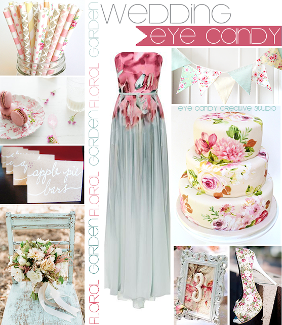 floral straws, macarons, hand lettering, foral cake, floral shoes, floral dress, bunting