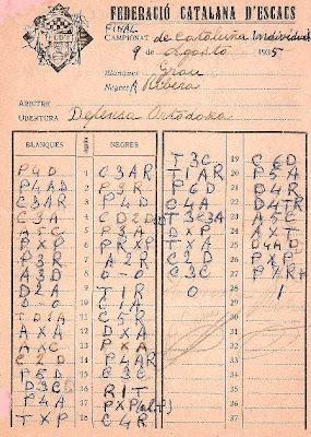 Planilla de la partida Andreu Grau-Ángel Ribera del VI Campeonato de Cataluña de Ajedrez 1935