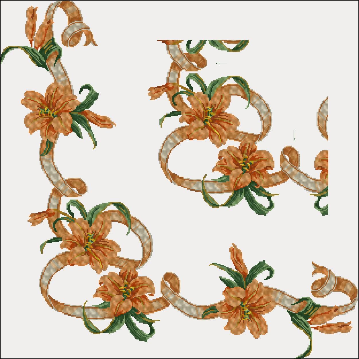 схема цветов на канве