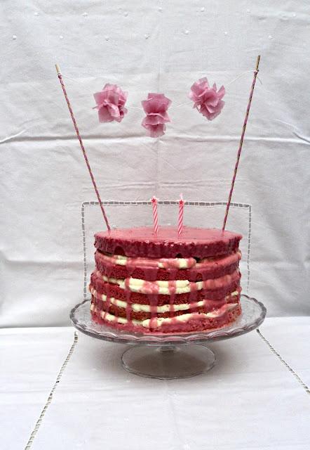 tarta fresa, arco iris, cumpleaños