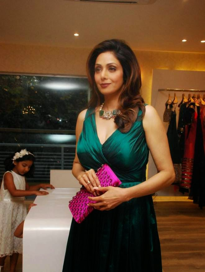 Sridevi Hot Wallpapers in Sleeveless Deep V Neck Frock Dresses