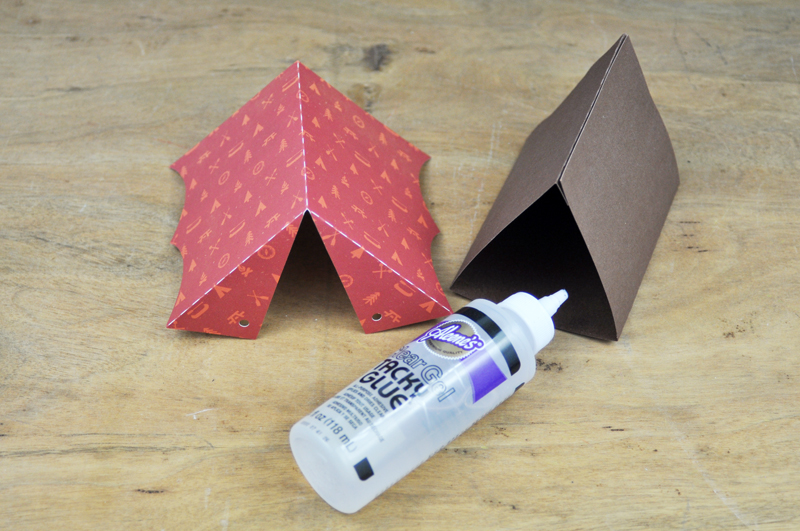 Step 2 Cut the top of the tent from patterned paper making sure the cut will center the pattern on the paper. Use your favorite adhesive to glue the die ... & Making It Meaningful: Camping Tent Treat Boxes | Jen Gallacher
