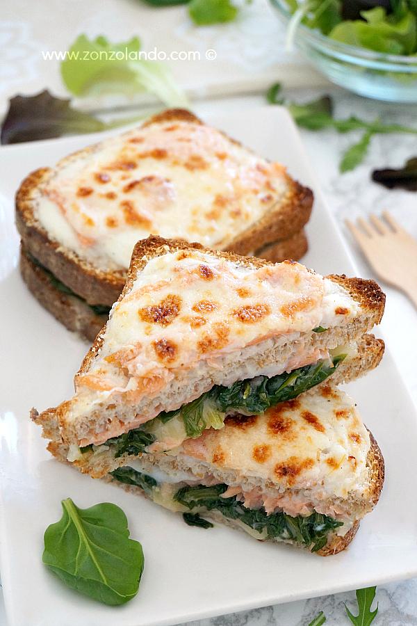 Panino con salmone affumicato e spinaci croque norvegien ricetta smoked salmon and spinach sandwich recipe