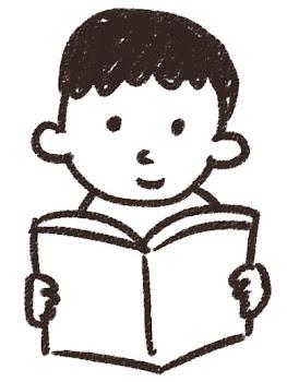 読書をしている男の子のイラスト 白黒線画