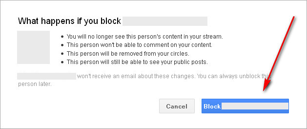 Google+ What happens if you block