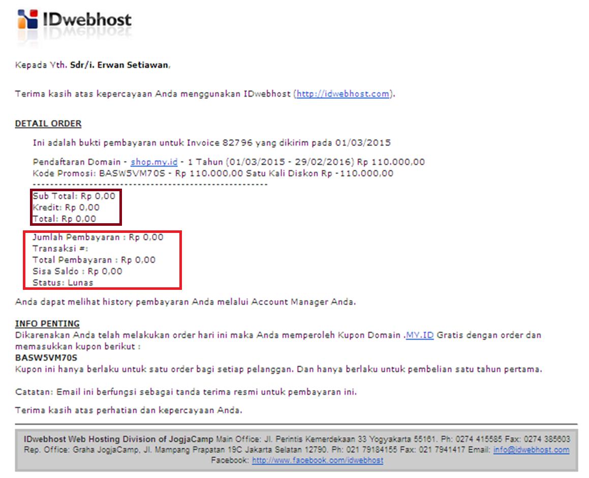 Konfirmasi Pembayaran Domain My Id di ID Webhost