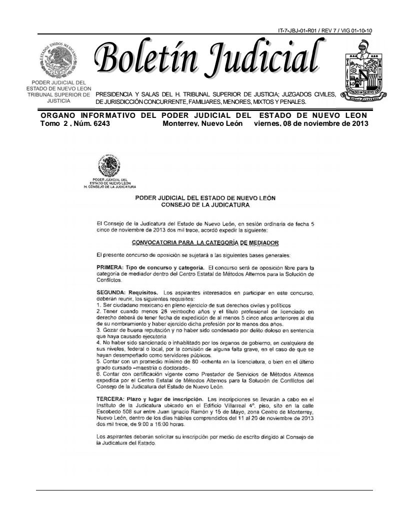 boletin judicial nuevo leon