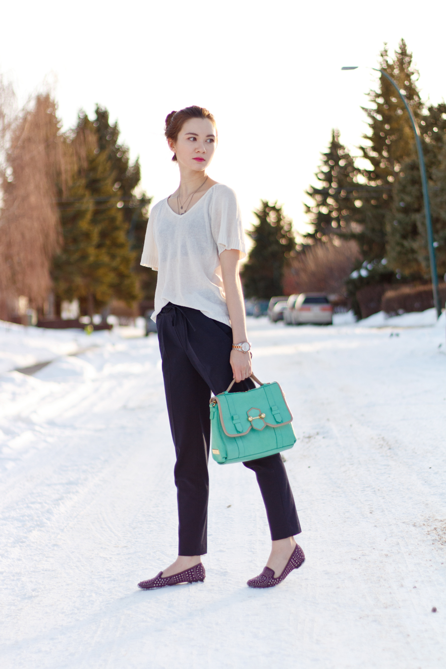 studded loafer, studded flats, pleated trousers, botkier, workwear, calgary fashion