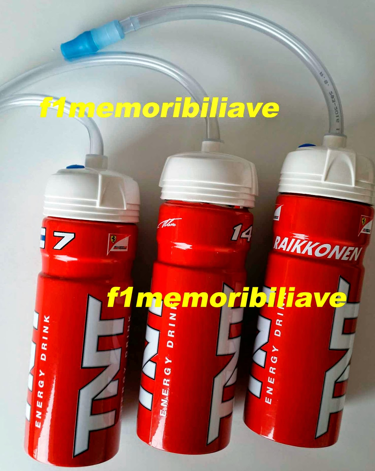 Formula 1 Memoribilia: Ferrari items... Drivers drink bottle USED by Fernando Alonso and Kimi ...