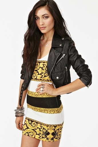 Donatella Dress With Black Leather Jacket