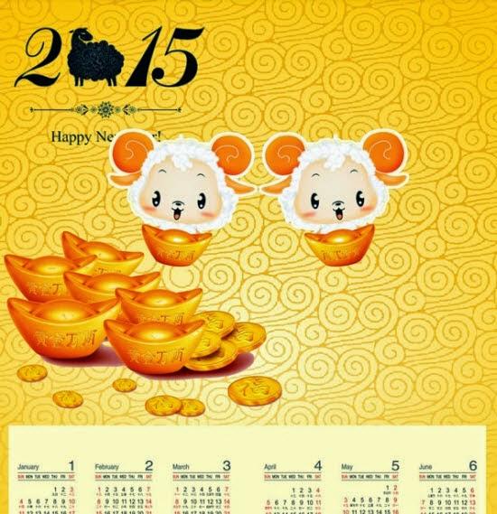 Goat 2015 calendars vector