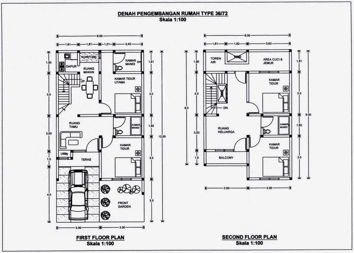 Gambar Contoh Denah Rumah Minimalis 2 Lantai Tipe 36