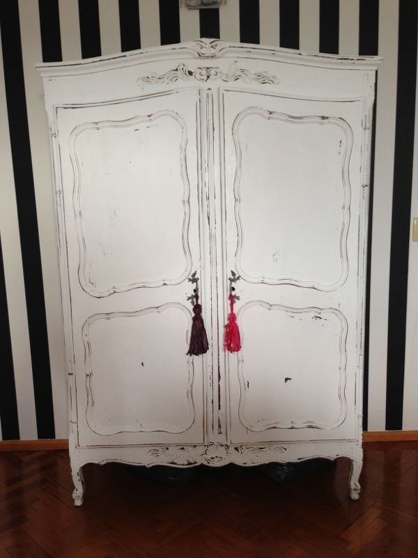 Vintouch muebles reciclados pintados a mano ropero - Mueble provenzal blanco ...