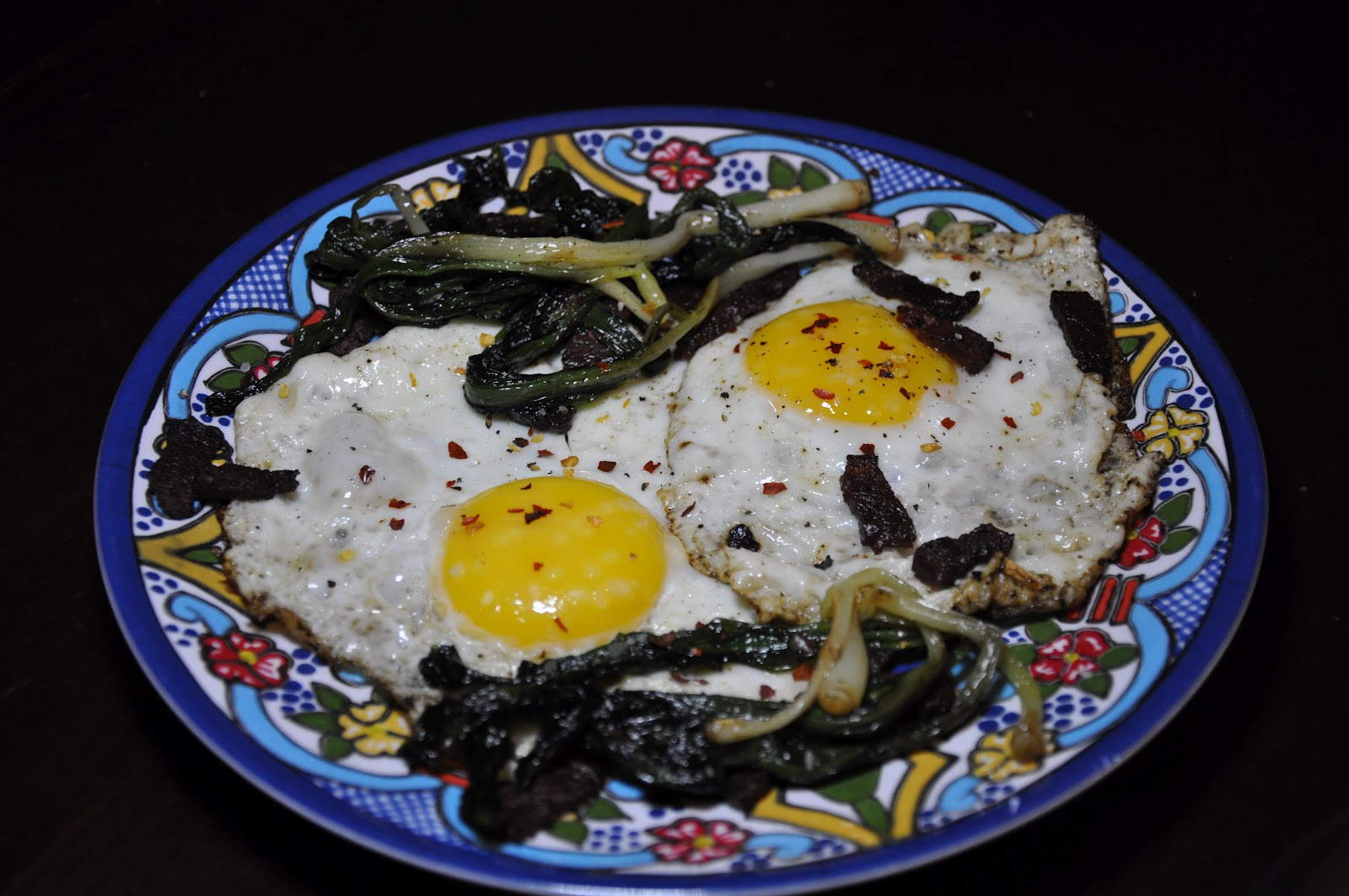 Slice of Rice: Fried Eggs with Sauteed Ramps and Duck Bacon