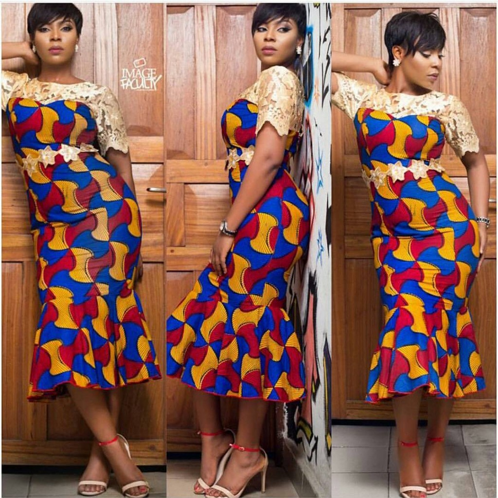 Ankara Gown With Lace Design Dezango Fashion Zone