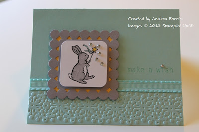 "Pale blue card with image of a bunny holding a magic wand, a few rhinestones and the greeting ""make a wish."""