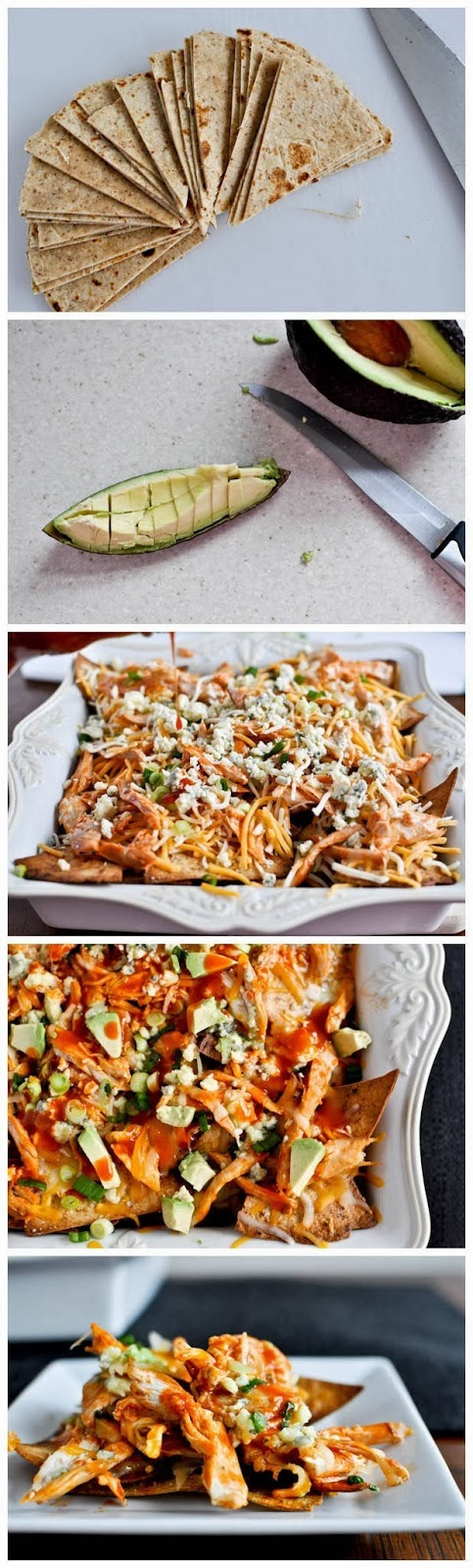 layered baked buffalo chicken nachos