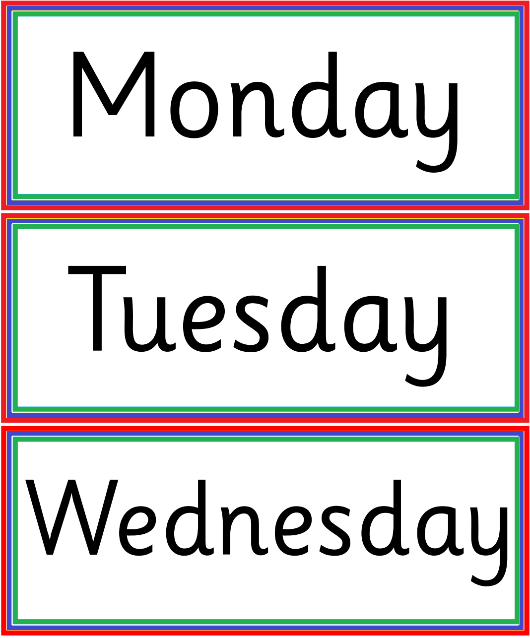 Kindergarten Worksheets: Days of week - Flashcard