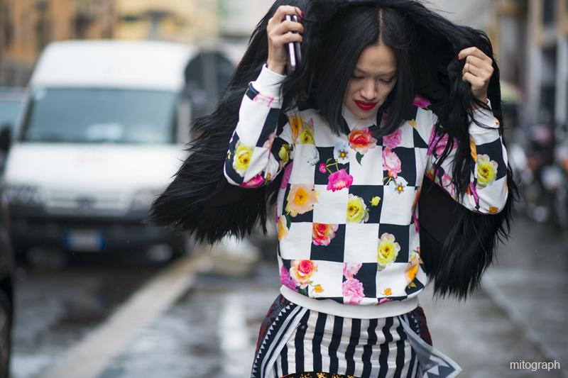 Tiffany Hsu wearing MSGM After MARNI milan fashion week 2013 fall winter mfw