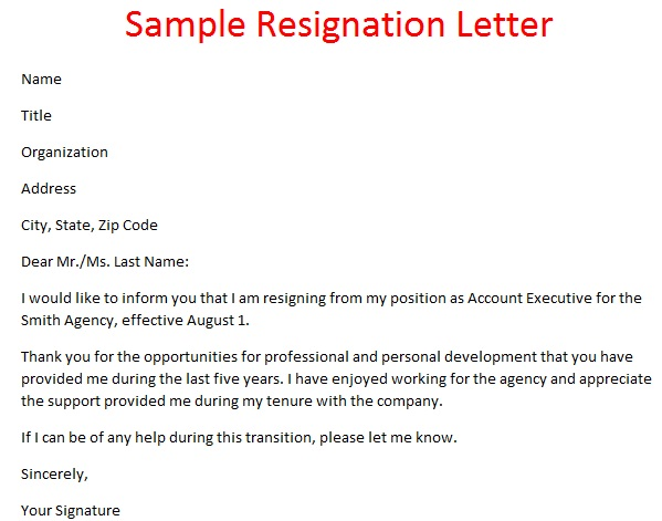 Sample Of Resign Letters  BesikEightyCo
