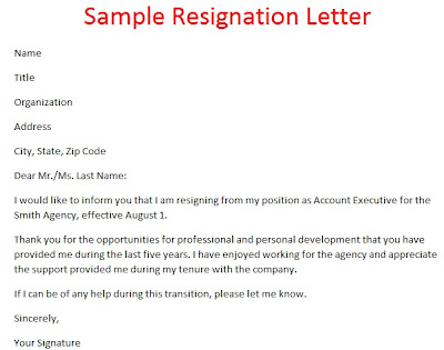 Samples Of Resignation Letters Sample Of Resignation Letter
