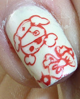 Nail stamping art, pirate red and white theme