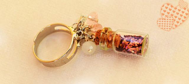RING.028 Δαχτυλίδι με μαγικό μπουκαλάκι Καλής Τύχης σε Ροζ χρώμα