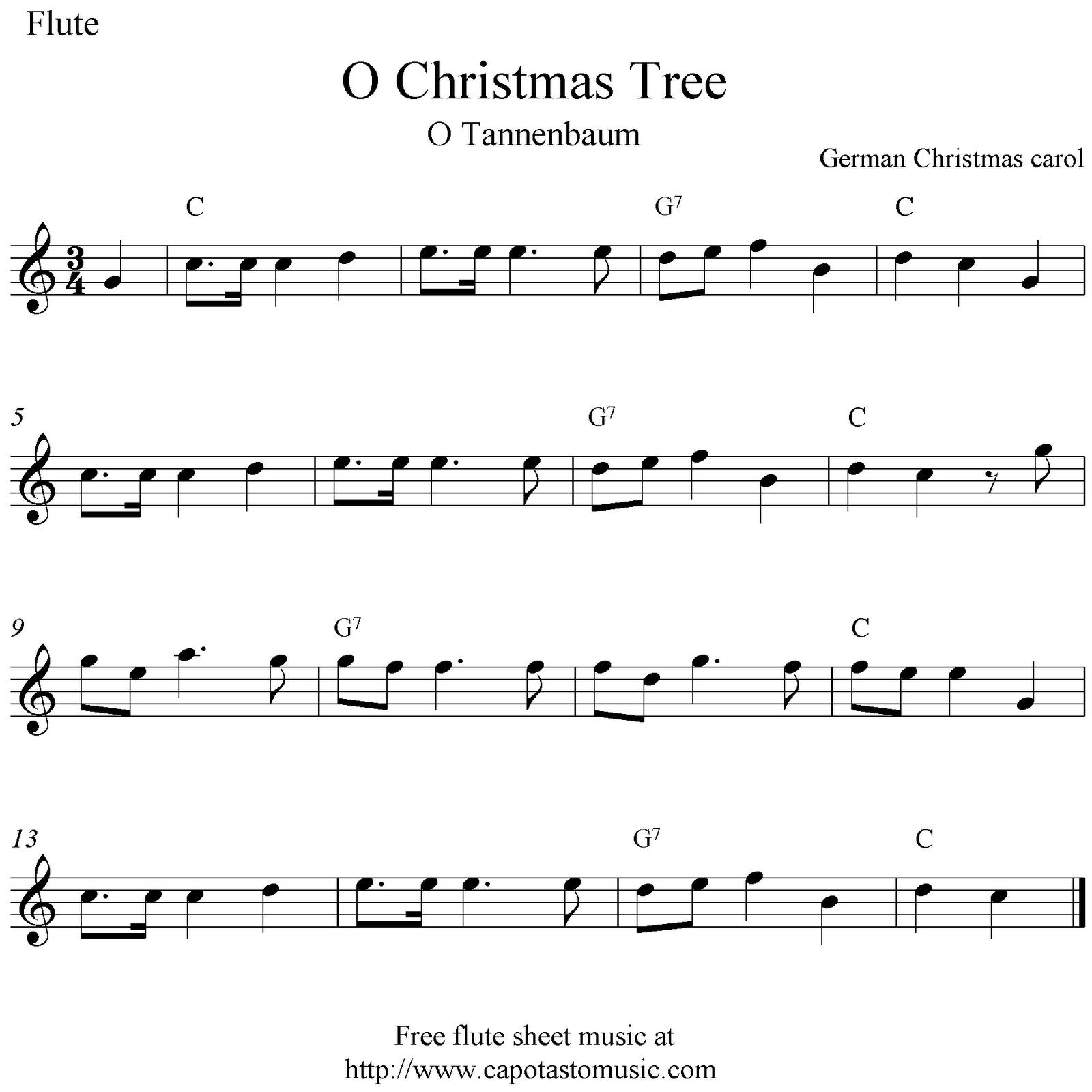 Christmas tree o tannebaum free christmas flute sheet music notes
