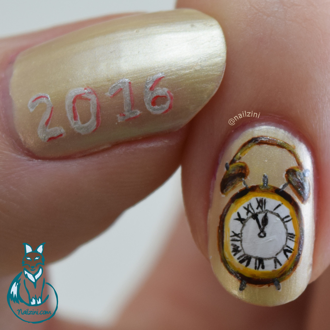 New Year 2016 Nail Art