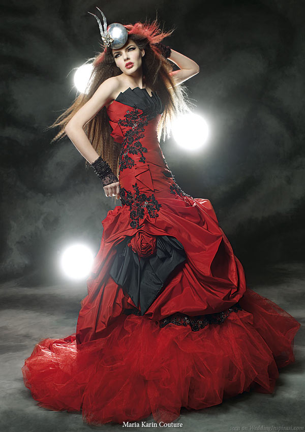 Wedding Dresses White Red And Black 19