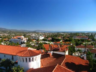Red tile roofs of Santa Barbara