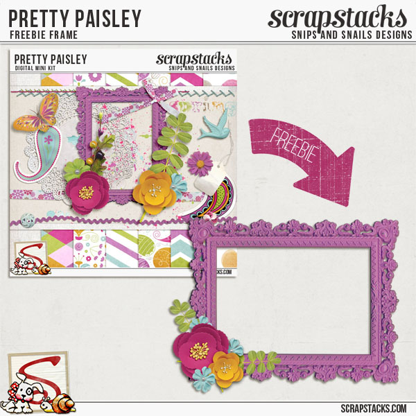 Pretty Paisley Freebie Frame by Snips and Snails Designs