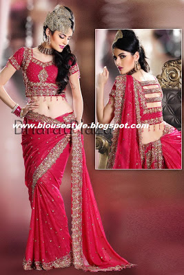 red colour saree with designer blouse