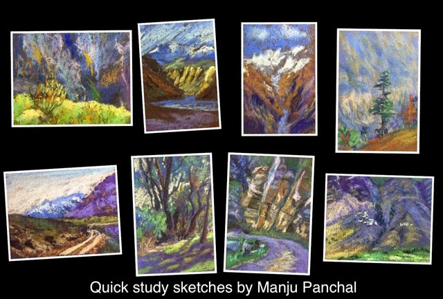 Thumbnail sketches or quick study sketches of places in SPITI valley in Himachal pradesh by Manju Panchal
