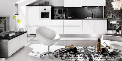 modern kitchen design in black and white with dishwasher and self cleaning oven