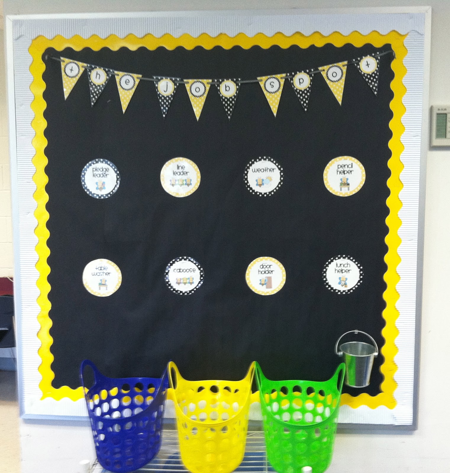 This Is My Class Job Bulletin Board Since The Pennant Banner Was Already Yellow And Black I Decided To Go With A Bee Theme For