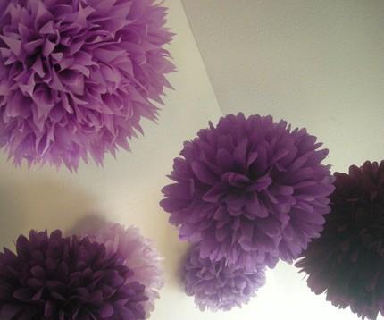 Dagy eventos preparando pompones - Pompones con papel de seda ...