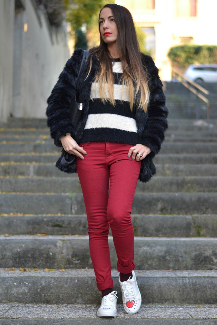 bianco nero rosso outfit