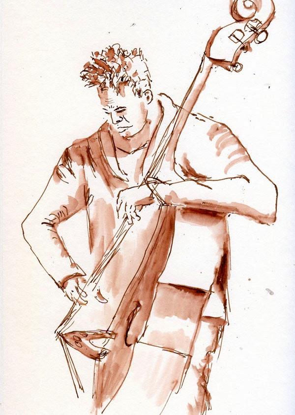 Umetnost crtana kafom i mastilom 12-7-13+Choc+Brown,+XL,+bass+player,+Drawing+Jam